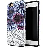 BURGA iPhone 6 iPhone 6s Case DazzlingPurple Dahlia Floral Print Pattern Doodle Heavy Duty Shockproof Dual Layer Hard Shell + Silicone Protective Cover