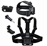 Neomark® For Sony Action Cam HDR-AS15/AS20/AS30V/AS100/Sony Action Cam HDR-AZ1 Mini Cameras, Adjustable Chest Body Blet Strap Mount+ Release Plate + J-hook Surface Quick Release Buckle + Long Screw Bolt + Head Strap