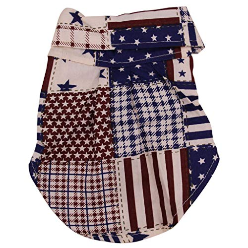 (khdug Pet Dog & Cat Shirt, Summer Multicolor Stars & Stripes Print Shirt Clothes, Breathable for Small Dogs)