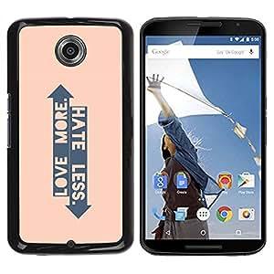 Paccase / SLIM PC / Aliminium Casa Carcasa Funda Case Cover para - Peach Arrow Love Hate Up Down Quote - Motorola NEXUS 6 / X / Moto X Pro
