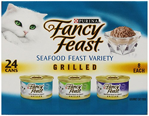 Fancy Feast Wet Cat Food Grilled Seafood Feast Variety Pack 3-Ounce Can Pack of 24