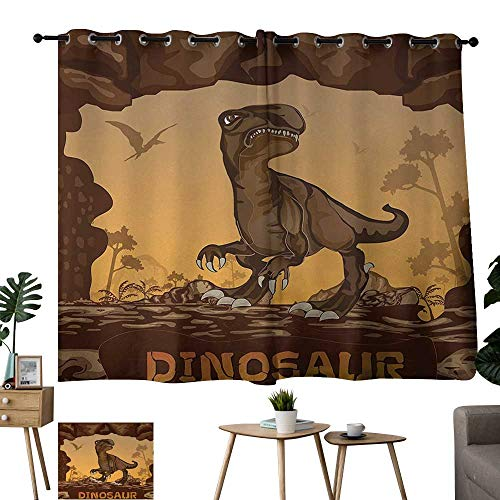 Grommet Window Curtain Fabric Fantasy Giant Dinosaur on Cliffs Cave Wild Fossil Jurassic Archaic Animal Illustration Apricot Redwood Bedroom Kitchen W55 xL39 ()