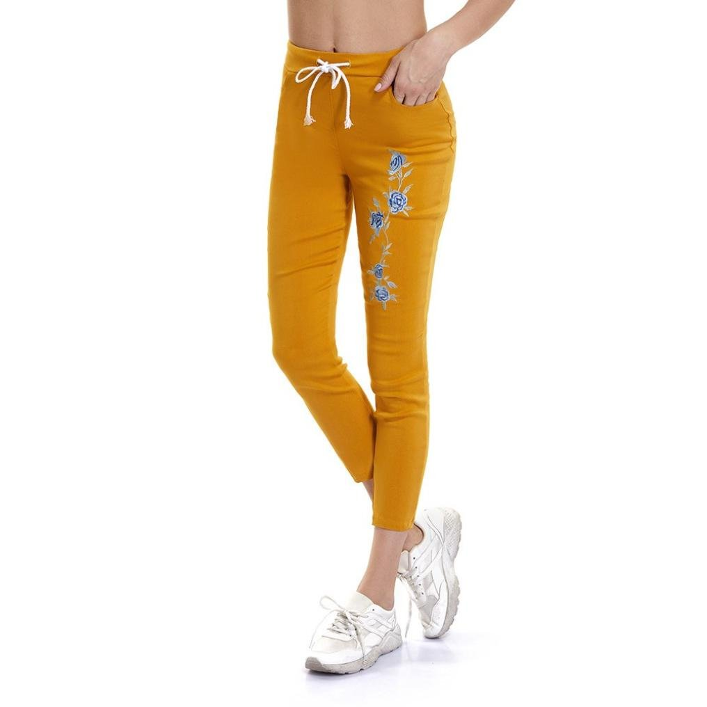 UFACE Damen bestickte Cropped-Hose Arbeiten Sie Frauen-Dame Skinny Embroidery Pants hohe Taillen-beil/äufige Bleistift-Hose