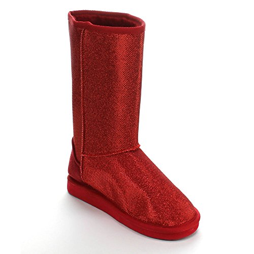Forever ALING-47 Womens Slip on Sequin Mid-Calf Boots Comfort Snow Winter Shoes Red dYQI6HDn