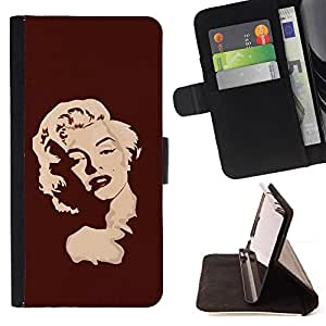 Marilyn Portrait Blonde Red Lips Art Portrait - Painting Art Smile Face Style Design PU Leather Flip Stand Case Cover FOR Samsung Galaxy S5 Mini, SM-G800 @ The Smurfs