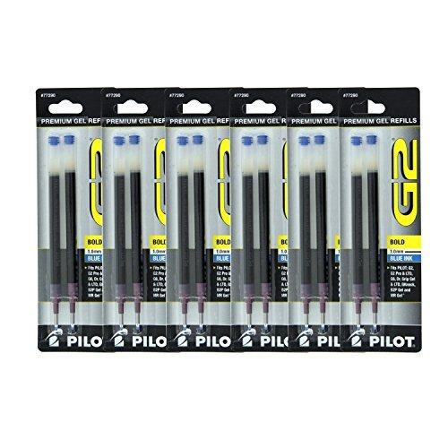 - Pilot G2, Dr. Grip Gel/Ltd, ExecuGel G6, Q7 Rollerball Gel Ink Pen Refills, 1.0mm, Bold Point, Blue Ink, Pack of 12