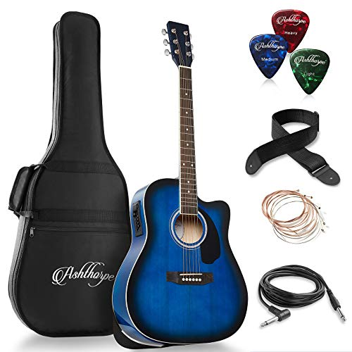 Ashthorpe Full-Size Dreadnought Cutaway Acoustic-Electric Guitar Bundle – Premium Tonewoods – Blue
