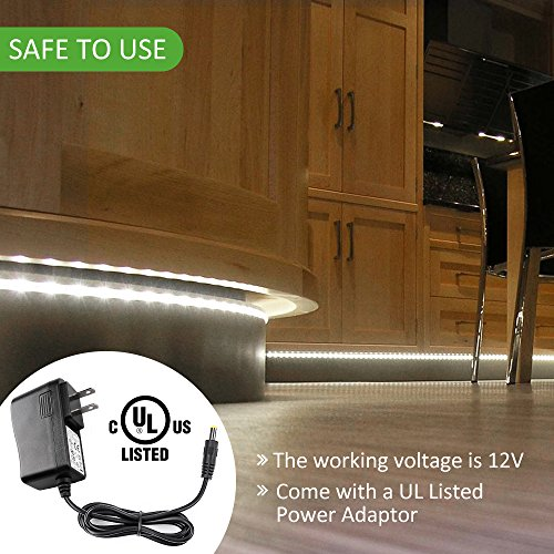 Ustellar LED Under Cabinet Lighting Kit 10ft, 1500lm LED Light Strip, Hand Wave Activated Control Under Counter Lights for Bookshelf Stairway, 6000K Daylight White LED Tape, UL Listed Power Supply