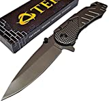 Rescue Survival Knife - TEK Spring Assisted Opening Emergency Rescue Folding Pocket Knife: Drop Point Blade - Razor Sharp - Everyday Carry Self Defense - Tactical Edge Knives