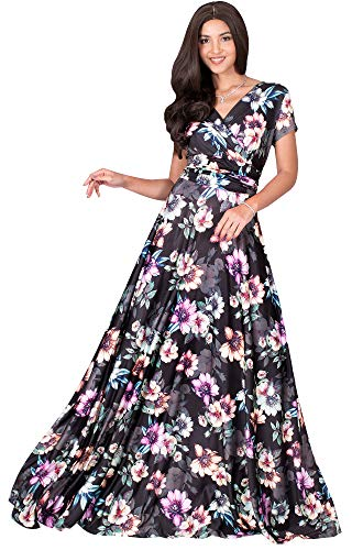 KOH KOH Petite Womens Long Cap Short Sleeve Floral Print Full Floor Length Sexy V-Neck Spring Summer Sundress Cocktail Evening Party Sun Gown Gowns Maxi Dress Dresses, Pink & Black S 4-6