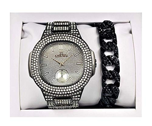Bling-ed Out Hip Hop Rapper's Black Iced Out Oblong Mens Watch - ST10235 Blk - Black Iced Watch Out