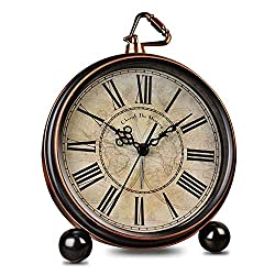 HeQiao Vintage Quiet Non-Ticking Table Alarm Clocks (Bronze)