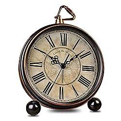 HeQiao Vintage Silent Non-Ticking Table Alarm Clocks (Bronze)