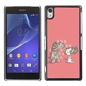 Qstar Arte & diseño plástico duro Fundas Cover Cubre Hard Case Cover para SONY Xperia Z2 / D6502 / D6503 / D6543 / L50W / L50t / L50u ( Cartoon Character Drawing Pink Dog Girl)