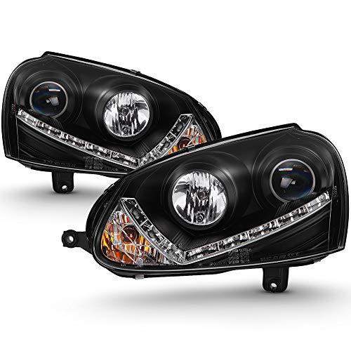 VIPMOTOZ LED Strip DRL Black Housing Projector Headlight Headlamp Assembly For 2006-2009 Volkswagen MK6 Jetta Rabbit VW GTI R32 Xenon HID Model, Driver & Passenger Side ()