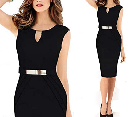 10c1d361998 Uther Women Sleeveless Business Working Cocktail Evening Party Pencil Dress  Black S