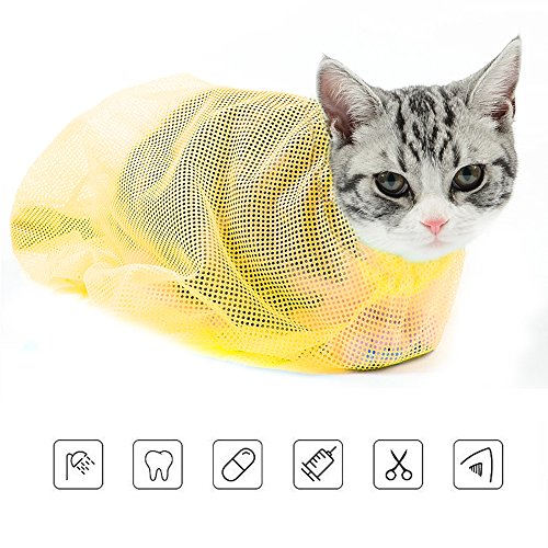 ASOCEA Cat Grooming Bag Cat Restraint Mesh Bag Restraint Biting & Scratching Resisted for Bathing Medication Nail Trimming Ear Cleaning Yellow ()