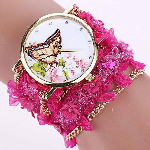 Tenworld Analog Quartz Watches Lace Wrap Bracelet Lady Woman Wrist Watch (Hot Pink)
