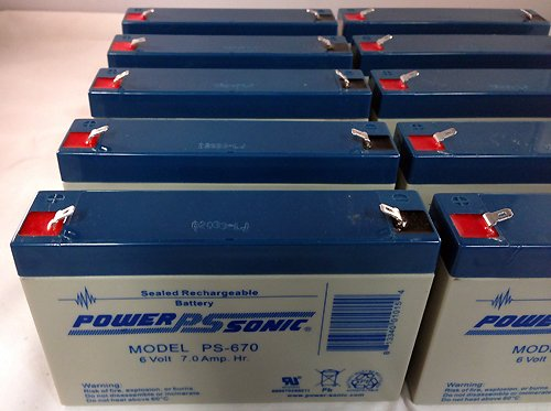 6V 7Ah SLA Sealed Lead Acid Battery for Emergency Lights Replaces PC7-6 - 10 Pack by Power Sonic (Image #3)