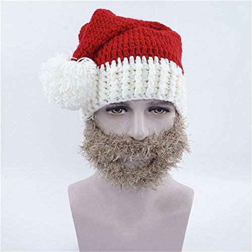 Nascar Halloween Costumes Toddler (Seeshine Beard Hat Beanie Hat Knit Hat Winter Warm Christmas Hat Windproof Funny for Men & Women Funny Party Hats Christmas Theme Santa Hats (Grey beard))