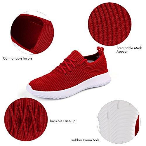QIMAOO Men's Slip On Running Shoes, Lightweight Sports Trainers Breathable Athletic Sneakers Casual Mesh Footwear For Gym Walking Fitness Hiking Working Red