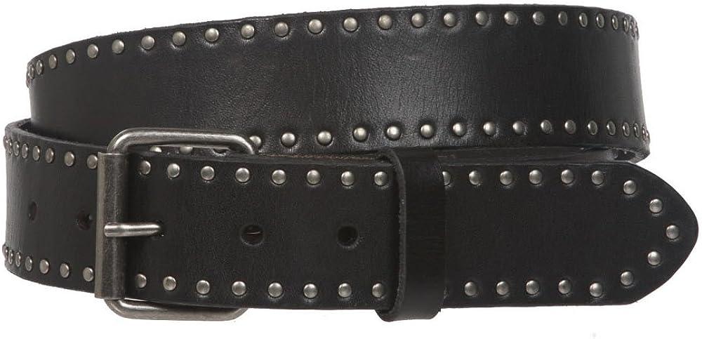 beltiscool Cinturón de piel con tachuelas de círculo retro vintage – hebilla intercambiable