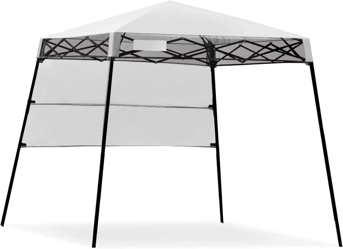 Tangkula 7 x 7 Ft Pop-up Canopy Tent, Outdoor Slant Leg Canopy Shelter with Carry Bag 4 Stakes, Compact Portable Canopy Tent Perfect for Hiking Camping Fishing Picnic 7 x7 Base 6 x6 top