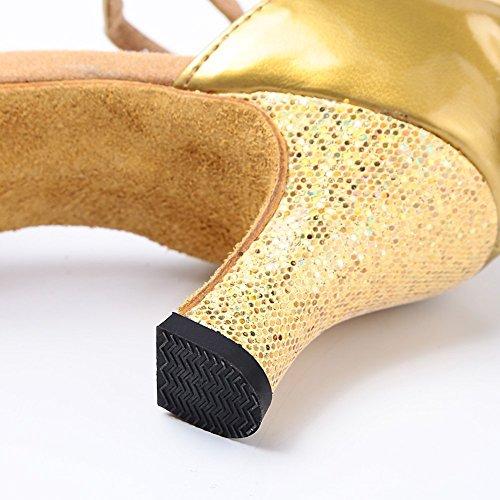 Tanzschuhe High Tango Sandale Dance Ballschuhe Latin Gold Samba Heel Minetom Damen Shoes IUxxOv8