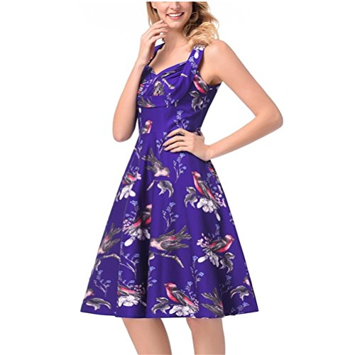 Dress by Summer SYGoodBUY Cocktail 50's Dresses Sleeveless Vintage Elegant 123 Women's Cocktail Printed Blue Short zwZqf
