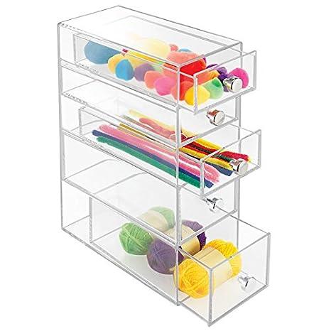 mDesign – Cajonera de plástico – Organizador de escritorio con 5 cajones - Práctico organizador de maquillaje en color transparente