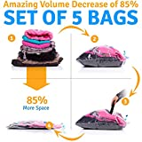 "5 Vacuum Storage Bags - 2 Jumbo (31x39"") 2 Large (23x31"") 1 Medium (19x23"") Compressed Space Saver Bags for Clothes & Comforters"
