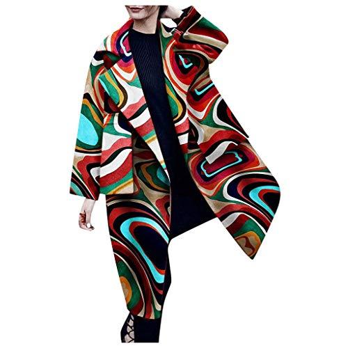 Soldes d'Hiver - Manteau En Laine Vintage Style Vintage Pour Femmes Mlide, Impression Couleur De ()