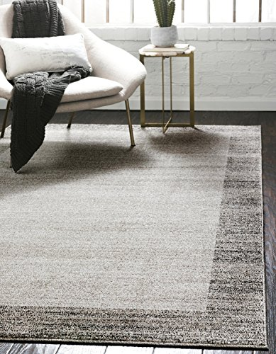 Cheap Unique Loom Del Mar Collection Contemporary Transitional Light Gray Area Rug (10′ x 13′)