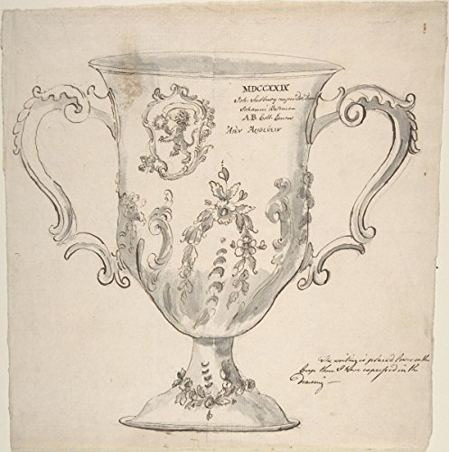 Drawing | Anonymous, British, 19th Century | A Silver Urn, inscribed MDCCXXIX.John Sudbury.Johanni Bateman | Antique Vintage Fine Art Print Reproduction 16in x 16in