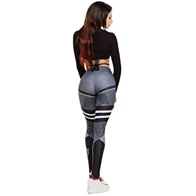 807449f79f Minisoya Women Striped Printed High Waist Yoga Pants Fitness Running Gym  Sports Leggings Workout Trousers Tights
