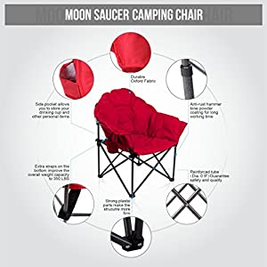 ALPHA CAMP Moon Saucer Folding Camping Chair with Cup Holder and Carry Bag Red