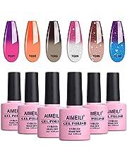 AIMEILI Soak Off UV LED Gel Nail Polish Temperature Colour Changing Multicolour/Mix Colour/Combo Colour Set Of 6pcs X 10ml - Kit Set 13