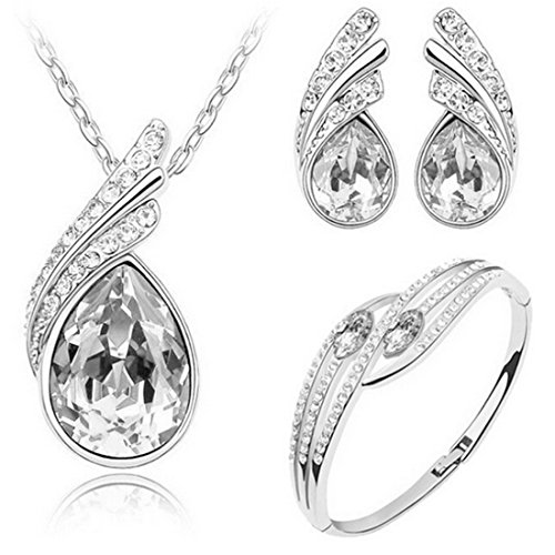 MAFMO Bridal Water Drop Jewelry Set Crystal Pendant Necklace Bracelet Stud Earrings -