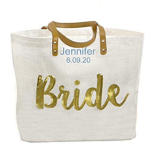 Personalized, Embroidered Mud Pie Bride Wedding Tote Bag, Gold Sequin