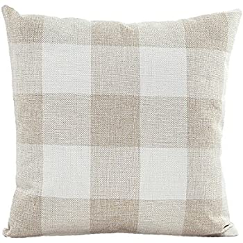 Beige White Checkers Plaids Linen Square Throw Pillow Case Decorative Cushion Cover Pillowcase Cushion Case for Sofa 18 x 18 Inch