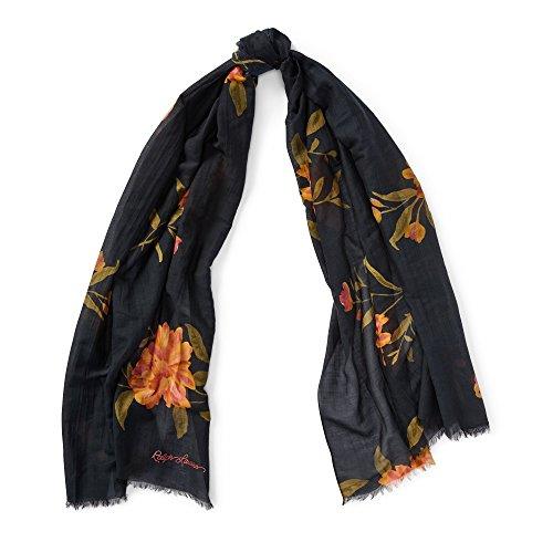Polo Ralph Lauren Women`s Floral Cotton Silk Blend Scarf (Black(WS0029-001)/Floral, One Size) ()