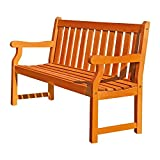 Cheap This 2 Seater Wood Bench, features teak wood in light brown color, is eco friendly and weather resistant. Great outdoor furniture for garden, porch, yard, patio or outside living area / space