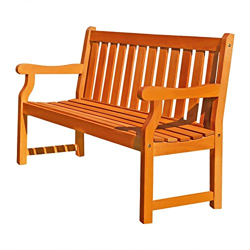 This 2 Seater Wood Bench, features teak wood in light brown color, is eco friendly and weather resistant. Great outdoor furniture for garden, porch, yard, patio or outside living area / space