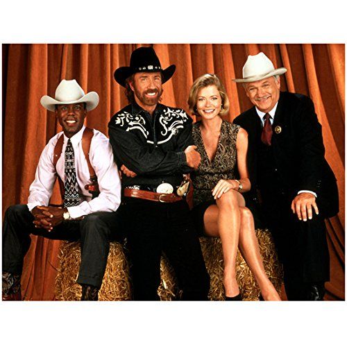 - Walker, Texas Ranger 8 Inch x 10 Inch Photo Chuck Norris and rest of Cast with Hay Bale