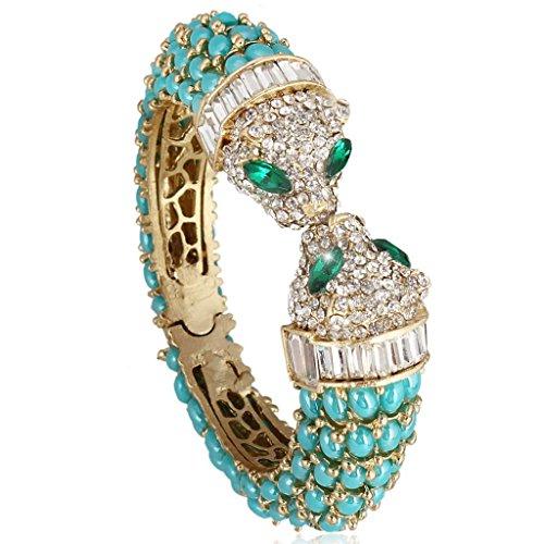 Gold Tone Leopard - EVER FAITH Gold-Tone Kissing Leopard Bracelet Austrian Crystal Blue