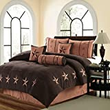 MB Collection 7 Piece WESTERN Lodge Oversize KING (110''X96'') Comforter Set Dark Brown / Chocolate with Dark and Light Brown Star - Embroidered Lone Star Barbed Wire Micro Suede Bedding