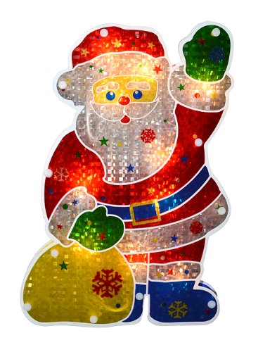 Sienna Lighted Holographic Santa Claus Christmas Window Silhouette Decoration, 13