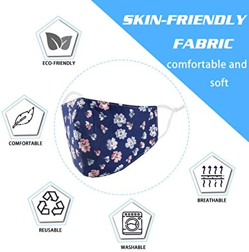 Face Mask Washable Reusable Adjustable Ear Loops Protection , Flowers Breathable Cloth Layer Covering Cotton Fabric Cute Fashionable Decorative Designer Madks Women Adult Gift Dust mascarilla Facemask