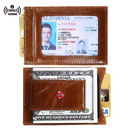 Tonywell Genuine Magnetic Leather Front Pocket Wallet Money Clip RFID Blocking Slim Wallets Made with Powerful Magnets (Brown)