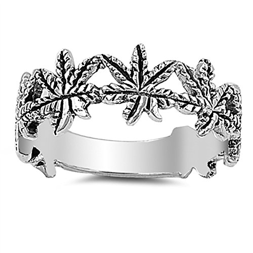 Marijuana Leaf Weed Ring .925 Sterling Silver Plant of Longevity Best cannabis jewelry